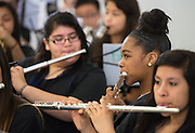 Members of Marshall Middle School Academy of Fine Arts Band perform during The Rusk School ribbon cutting ceremony, April 7, 2014.