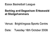UK - Tuesday, Nov 18 2008:  Images from Barking and Dagenham Erkenwald Basketball Club's Essex Basketball League game against Brightlingsea Sledgehammers. (Photo by Peter Horrell / http://www.peterhorrell.com)