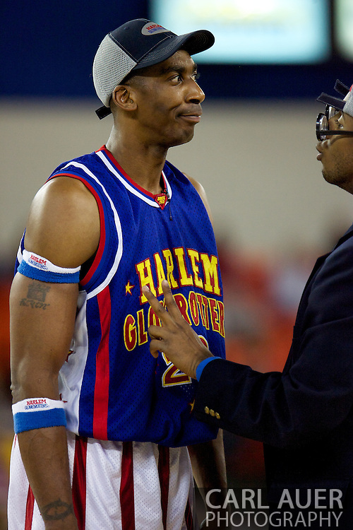 April 30th, 2010 - Anchorage, Alaska:  Harlem Globetrotter Hi-Lite Bruton (26) argues with Umpire Dizzy Grant Friday night at the Sullivan Arena.