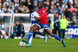 Ellis Harrison of Bristol Rovers is challenged by Ousmane Fane of Oldham Athletic - Rogan Thomson/JMP - 17/04/2017 - FOOTBALL - Memorial Stadium - Bristol, England - Bristol Rovers v Oldham Athletic - EFL Sky Bet League One.