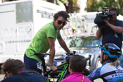 Giorgia Bronzini (ITA) of Cylance Pro Cycling chats to friends before Stage 2 of the Madrid Challenge - a 100.3 km road race, starting and finishing in Madrid on September 16, 2018, in Spain. (Photo by Balint Hamvas/Velofocus.com)