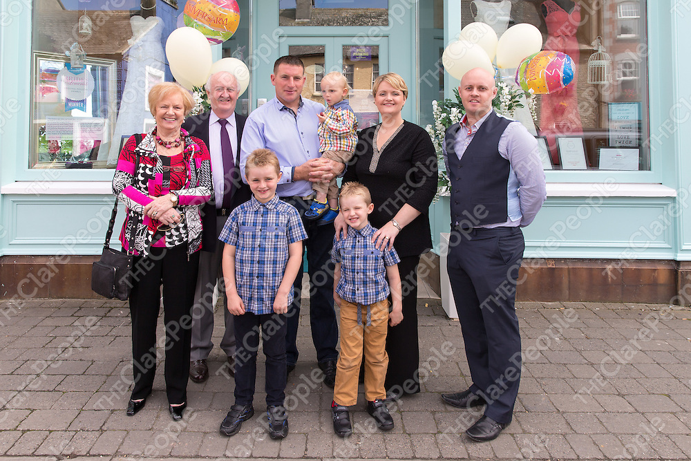 Ann Vaughan with her parents Eugene and Maura McGee, Husband Brendan with kids Darragh, Eoin and Thomas and her brother Gerard McGee out side The Bridal Emporium in Miltown Malbay