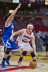03 January 2014:  Kyndal Clark defends Alexis Foley during an NCAA women's basketball game between the Drake Bulldogs and the Illinois Sate Redbirds at Redbird Arena in Normal IL