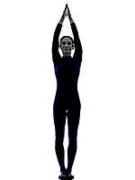 woman exercising Urdhva Hastasana Upward Salute pose yoga silhouette shadow white background