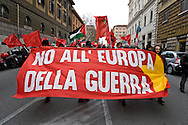 Rome, Italy. 16th January 2016<br /> Anti-war demonstration on the 25th anniversary of the bombings in Iraq and against military spending, organized by the union USB, and the social platform Eurostop. banner reads: No to the Europe of war.