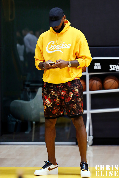 EL SEGUNDO, CA - JUL 13: LeBron James is seen during a press conference on July 13, 2019 at the UCLA Health Training Center, in El Segundo, California.