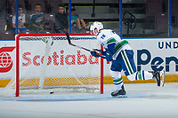 PENTICTON, CANADA - SEPTEMBER 8: Kole Lind #78 of Vancouver Canucks scores an empty net goal during the final 15 seconds of the third period against the Winnipeg Jets on September 8, 2017 at the South Okanagan Event Centre in Penticton, British Columbia, Canada.  (Photo by Marissa Baecker/Shoot the Breeze)  *** Local Caption ***