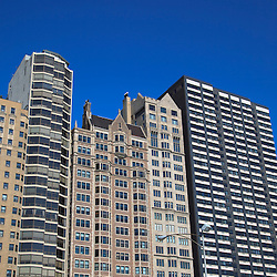 Chicago building architecture. High resolution photo of Chicago apartment buildings.