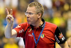 Head coach of RNL Gudmundur Gudmundsson during Velux EHL Champions league 2010/2011 Group A men handball match between HC Celje Pivovarna Lasko of Slovenia and Rhein-Neckar Loewen of Germany, on October 2, 2010 in Arena Zlatorog, Celje, Slovenia. Rhein-Neckar Löwen defeated Celje Pivovarna Lasko 32 - 28. (Photo By Vid Ponikvar / Sportida.com)