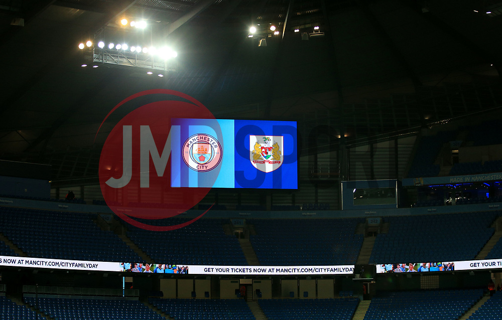 Bristol City and Manchester City crest on screen  - Mandatory by-line: Matt McNulty/JMP - 09/01/2018 - FOOTBALL - Etihad Stadium - Manchester, England - Manchester City v Bristol City - Carabao Cup Semi-Final First Leg
