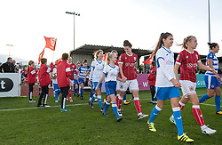 Players and mascots walk-out - Mandatory by-line: Paul Knight/JMP - 28/10/2017 - FOOTBALL - Stoke Gifford Stadium - Bristol, England - Bristol City Women v Reading Women - FA Women's Super League
