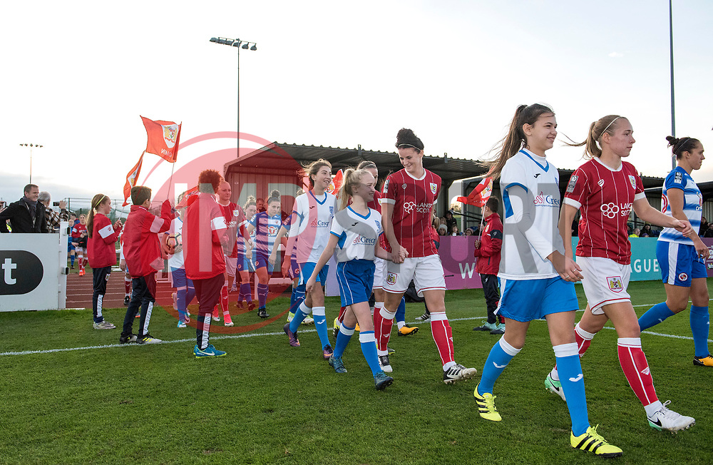 Players and mascots walk-out - Mandatory by-line: Paul Knight/JMP - 28/10/2017 - FOOTBALL - Stoke Gifford Stadium - Bristol, England - Bristol City Women v Reading Women - FA Women's Super League