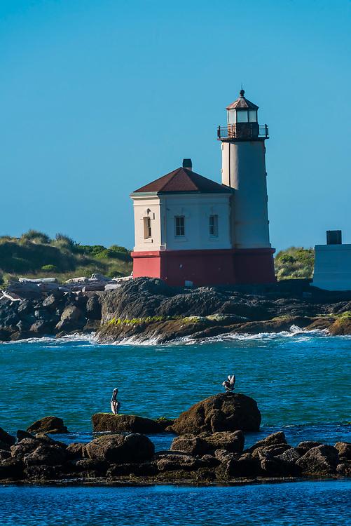 Coquille River Light (lighthouse), Bandon, Oregon USA.