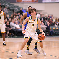 3rd year guard Samuel Hillis (2) of the Regina Cougars during the Men's Basketball home game on November 24 at Centre for Kinesiology, Health and Sport. Credit: Arthur Ward/Arthur Images