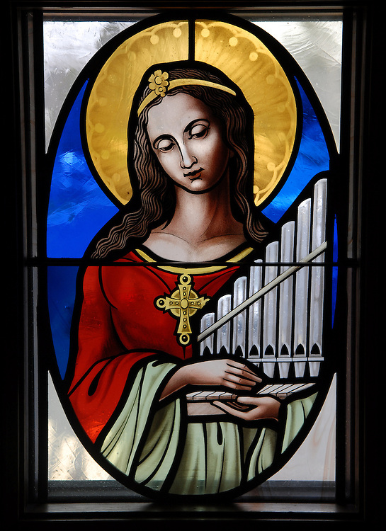 Stained glass image of St. Cecilia from St. William Church, Waukesha. (Photo by Sam Lucero)