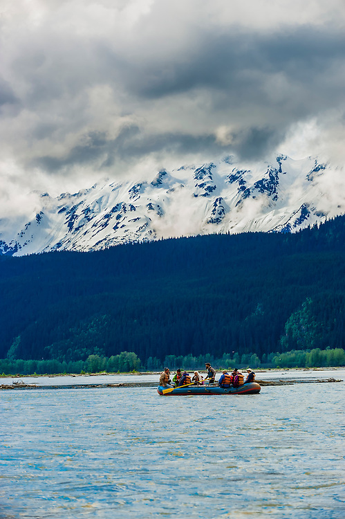 Rafting on the Chilkat River through the Alaska Chilkat Bald Eagle Preserve between Klukwan and Haines, southeast Alaska USA.