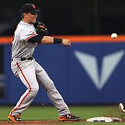 Joe Panik,  San Francisco Giants, making a play at second base during the New York Mets Vs San Francisco Giants MLB regular season baseball game at Citi Field, Queens, New York. USA. 11th June 2015. Photo Tim Clayton