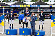 Podium 5 years 1. Maikel van Mierlo - Earley, 2. Angelica Augustsson - Ard Ginger Pop, 3. Marlon Modolo Zanotelli - Cool Clarimo, Stefaan D'Hondt, Brand Manager Longines Belux<br /> FEI World Breeding Jumping Championships for Young Horses 2014<br /> © DigiShots