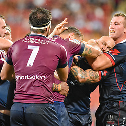 A scuffle between players during the Super Rugby Round 7 match between Queensland Reds and Melbourne Rebels at Suncorp Stadium on March 30, 2019 in Brisbane, Queensland, Australia. (Photo by Stephen Tremain)