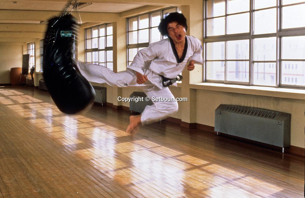 Chun Kook Chan, 7 times world chamion of taekwando.       Chun Kook Chan, 7 fois champion du monde de taekwando, a  l'entraînement;      ///R00031/15    L2752  /  R00031  /  P0002988