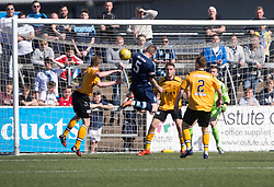 Forfar Athletic's Thomas O'Brien (5) scoring their second goal. Forfar Athletic 2 v 4 Annan Athletic, Scottish Football League Division Two game played 6/5/2017 at Station Park.