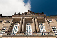 A worms-eye view of the Amalienborg Palace in Copenhagen.