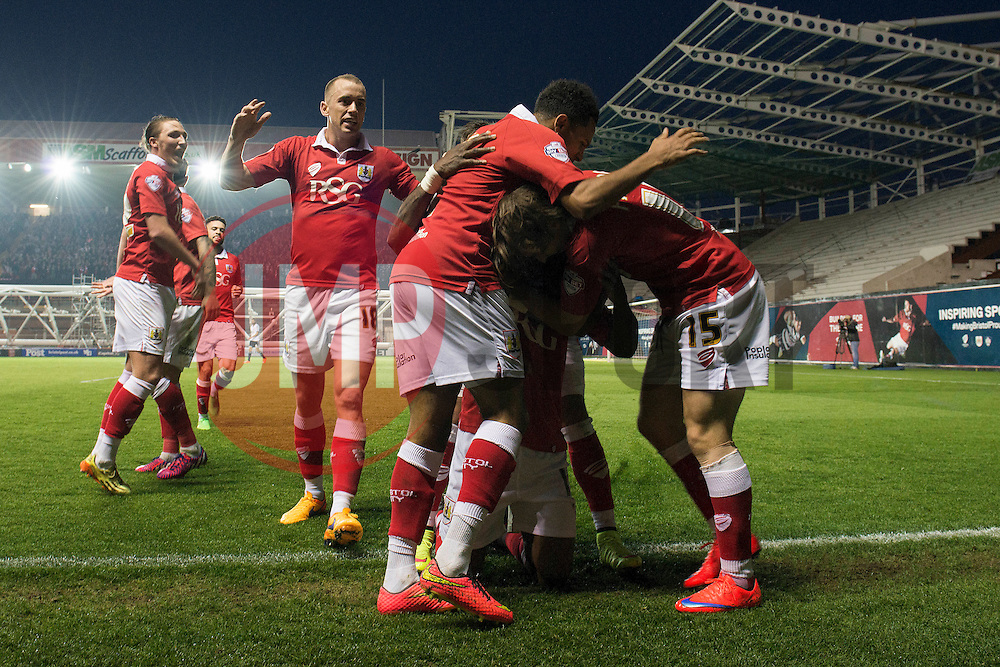 Bristol City's Kieran Agard celebrates his goal with team mates. - Photo mandatory by-line: Dougie Allward/JMP - Mobile: 07966 386802 - 07/04/2015 - SPORT - Football - Bristol - Ashton Gate - Bristol City v Swindon Town - Sky Bet League One