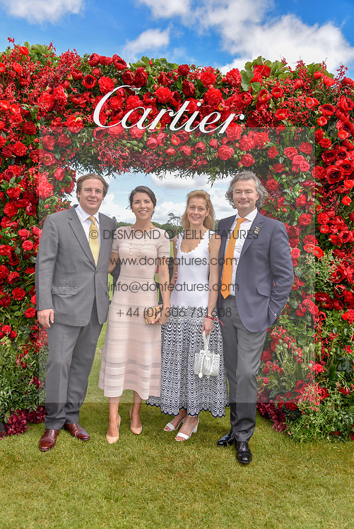 Anton Rupert Jr,  Rivier, Carine Feniou and  Laurent Feniou at the Cartier Queen's Cup Polo 2019 held at Guards Polo Club, Windsor, Berkshire. UK 16 June 2019. <br /> <br /> Photo by Dominic O'Neill/Desmond O'Neill Features Ltd.  +44(0)7092 235465  www.donfeatures.com