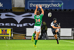 Dan Evans of Ospreys kicks ahead<br /> <br /> Photographer Craig Thomas/Replay Images<br /> <br /> Guinness PRO14 Round 4 - Ospreys v Benetton Treviso - Saturday 22nd September 2018 - Liberty Stadium - Swansea<br /> <br /> World Copyright © Replay Images . All rights reserved. info@replayimages.co.uk - http://replayimages.co.uk