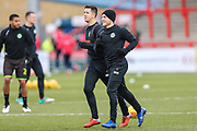 Forest Green Rovers Lloyd James(4) and Forest Green Rovers George Williams(11) warming up during the EFL Sky Bet League 2 match between Stevenage and Forest Green Rovers at the Lamex Stadium, Stevenage, England on 26 January 2019.