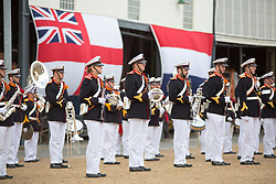 @Licensed to London News Pictures 08 06 2017. Chatham, Medway, Kent. The Royal Prins Maurits of the Netherland presents the ceremony to commemorate the Battle of Medway at Upnor Castle in Kent today. To include The Band of Her Majesty's Royal Marines, Portsmouth and The Marine Band of the Royal Netherlands Navy. The Battle of Medway took place in 1667 when the Dutch launched a daring assault on the British upon the River Medway at Chatham destroying the whole fleet . Photo credit: Manu Palomeque/LNP