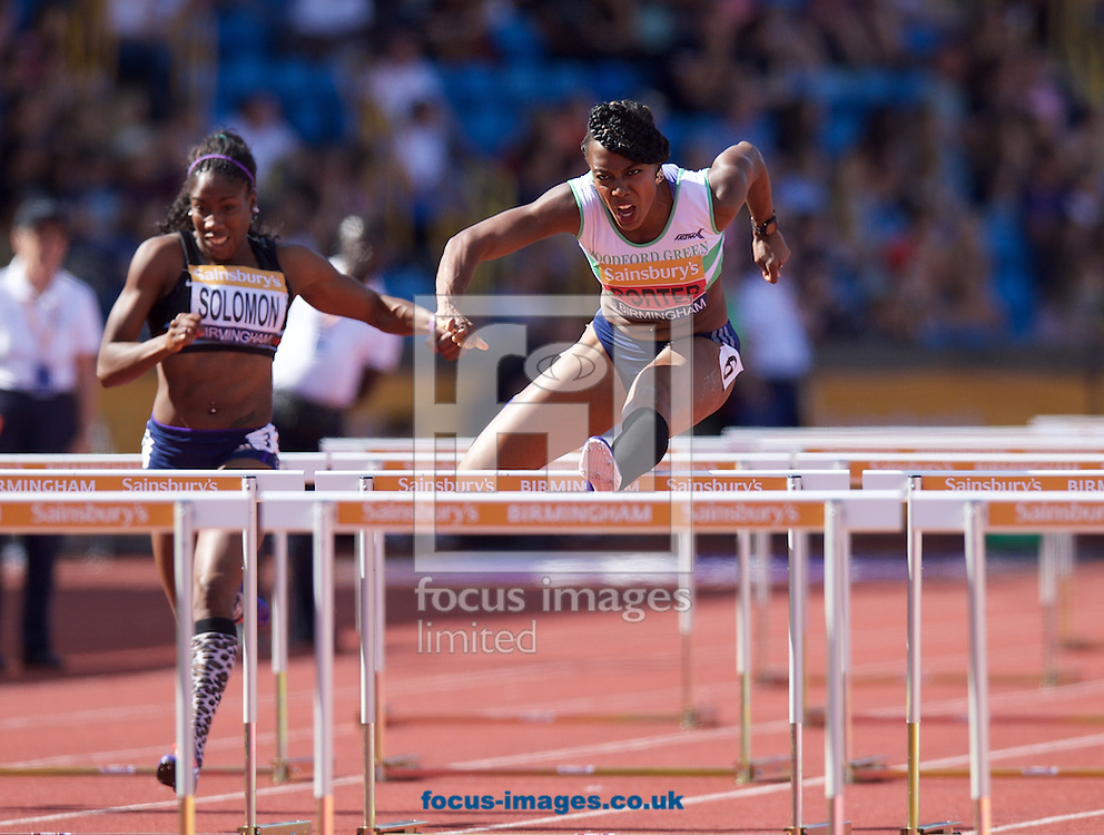 Jessica Ennis-Hill(GBR) finishing third competing in the 100m Hurdles final with Cindy Ofili (sister of Tiffany Porter) who finishes second during the Sainsbury's British Championships at Alexander Stadium, Birmingham<br /> Picture by Alan Stanford/Focus Images Ltd +44 7915 056117<br /> 04/07/2015