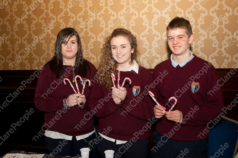 8/3/2012  Attending the Co Enterprise Awards in the West County Hotel last Thursday were  Scariff Community College students Shauna Donnellan, Orla Burke, Michael Barrett with their Candy Canes wholesaling company.<br /> Picture Liam Burke/Press 22