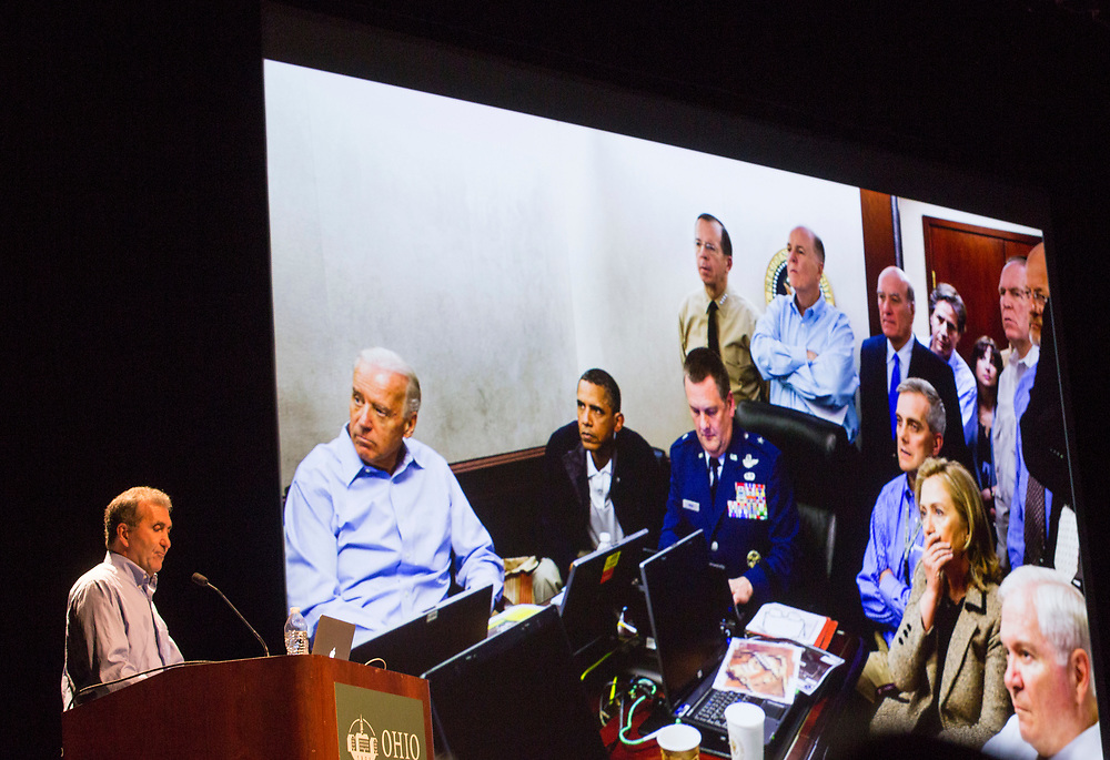 Pete Souza talks about being Barack Obama's presidential photographer and this photo he took during the Bin Laden raid at his Kennedy Lecture on September 19, 2017.