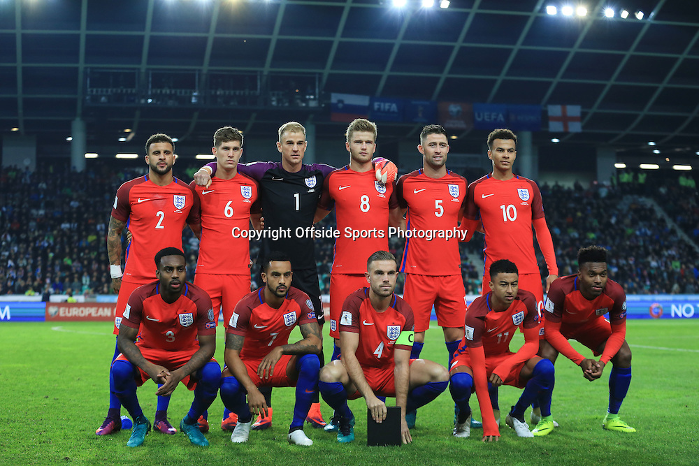 11 October 2016 - FIFA 2018 World Cup Qualifying (Group F) - Slovenia v England - The England starting lineup featuring Jordan Henderson as Captain - Photo: Marc Atkins / Offside.