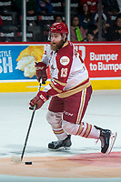REGINA, SK - MAY 22: Adam Holwell #13 of Acadie-Bathurst Titan skates with the puck against the Hamilton Bulldogs at the Brandt Centre on May 22, 2018 in Regina, Canada. (Photo by Marissa Baecker/CHL Images)