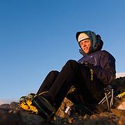 """Freyr Ingi Björnsson at the top of the iceclimb """"Nálaraugað"""" WI4, Búahamrar,mt. Esja."""
