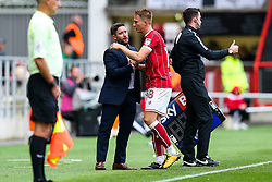 Bristol City Head Coach Lee Johnson congratulates goalscorer Cauley Woodrow as he is substituted - Rogan/JMP - 16/09/2017 - Ashton Gate Stadium - Bristol, England - Bristol City v Derby County - Sky Bet Championship.