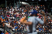 San Francisco Giants fans bake in the sun during an extra inning game against the Los Angeles Dodgers at AT&T Park in San Francisco, California, on April 27, 2017. (Stan Olszewski/Special to S.F. Examiner)