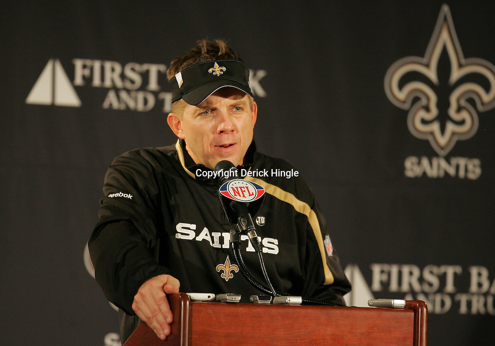 16 January 2010:  New Orleans Saints head coach Sean Payton speaks to the media following a 45-14 win by the New Orleans Saints over the Arizona Cardinals in a 2010 NFC Divisional Playoff game at the Louisiana Superdome in New Orleans, Louisiana.