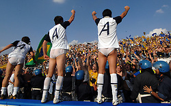 Parma players celebrate gaining promotion to Serie A in their underpants.