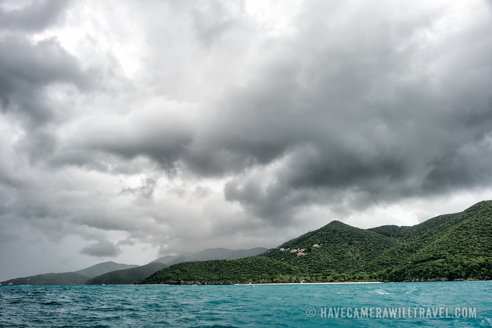 Storm clouds build over Trunk Bay on St John in the US Virgin Islands.