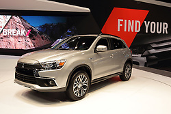 11 February 2016: 2016 Mitsubishi Outlander Sport.<br /> <br /> First staged in 1901, the Chicago Auto Show is the largest auto show in North America and has been held more times than any other auto exposition on the continent.  It has been  presented by the Chicago Automobile Trade Association (CATA) since 1935.  It is held at McCormick Place, Chicago Illinois<br /> #CAS16