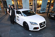 Matt & Casey Close with their 2010 Targa Tasmania Entry a 2010 Audi TTRS Coupe in Ibis White .Shot on location at Audi Centre Melbourne.Melbourne CBD, Victoria.6th of April 2010.(C) Joel Strickland Photographics.Use information: This image is intended for Editorial use only (e.g. news or commentary, print or electronic). Any commercial or promotional use requires additional clearance.
