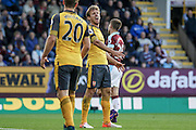 Arsenal defender Nacho Monreal (18) unhappy at conceding a corner during the Premier League match between Burnley and Arsenal at Turf Moor, Burnley, England on 2 October 2016. Photo by Pete Burns.