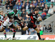Twickenham, GREAT BRITAIN,  Saracens, Adam POWELL,  running through to score a second half try, chased by Quins, Ugo MOYNE, during the Guinness Premiership match,  Saracens vs Harlequins, at Twickenham Stadium, Surrey on Sat 06.09.2008. [Photo, Peter Spurrier/Intersport-images]