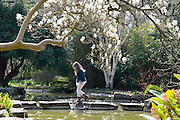 © Licensed to London News Pictures. 07/04/2015. Maidenhead, UK. People cross stepping stones into the water garden. People enjoy the warm and sunny weather at Cliveden House in Maidenhead Buckinghamshire today 7th April 2015. Photo credit : Stephen Simpson/LNP