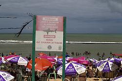 October 16, 2016 - Boa Viagem, Brazil - Signs warn beachgoers about shark attacks in the Boa Viagem beach in Recife northeastern Brazil, on October 16, 2016. The beach is known internationally for shark attacks and for their beauty. (Credit Image: © Diego Herculano/NurPhoto via ZUMA Press)