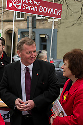 Pictured: Sarah Boyack and Alex Rowley<br /> <br /> Scottish Labour deputy leader Alex Rowley was joined by the party's environment spokeswoman Sarah Boyack and party activists at a farmers' market in the Grassmarket, Edinburgh today. <br /> <br /> Ger Harley | EEm 1 April 2016