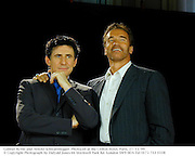 Gabriel Byrne and Arnold Schwarenegger. Photocall at the Crillon Hotel. Paris. 27/11/99<br />© Copyright Photograph by Dafydd Jones 66 Stockwell Park Rd. London SW9 0DA Tel 0171 733 0108